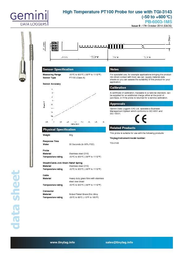 PB-6003-1M5 Hochtemperaturfühler PT100 3-Leiter für Tinytag ...
