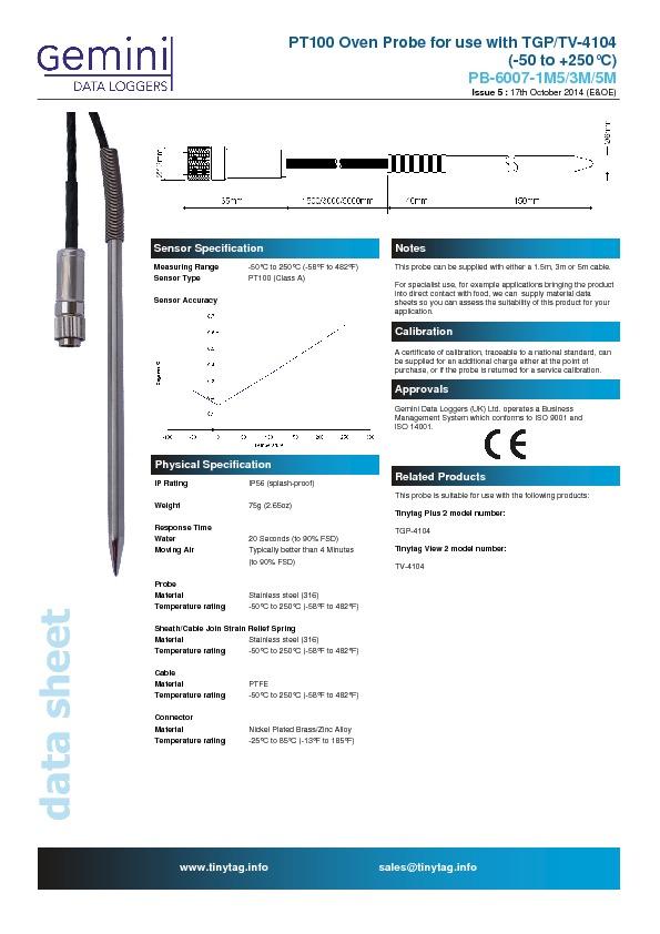 PB-6007-5M Hochtemperaturfühler PT100 3-Leiter für Tinytag ...